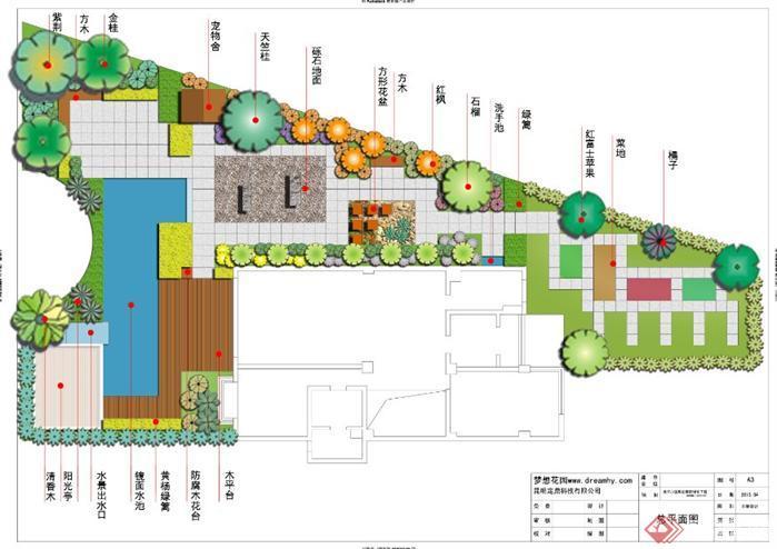 金江小区某别墅花园景观设计方案平面图