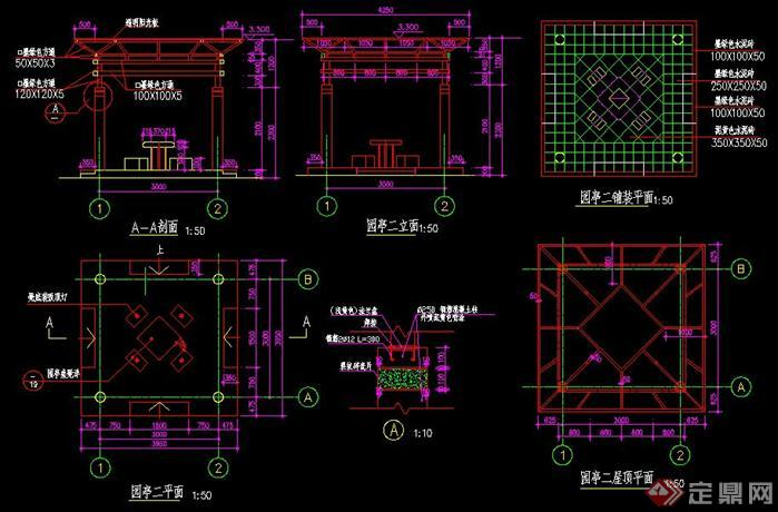 方形钢结构玻璃亭子施工图