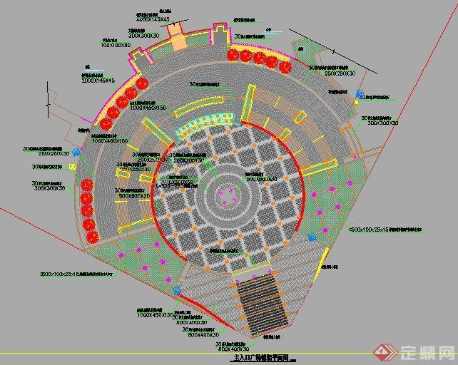 公园局部平面图_某公园主入口小广场设计详图