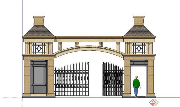 现代欧式风格小区入口保安亭大门sketchup(su)3d模型