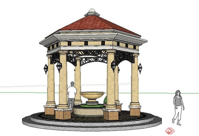 某小区欧式六角景观亭子SketchUp SU 3D模型图片