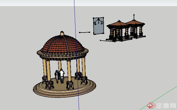 欧式圆亭和景观方亭子设计SketchUp SU 3D模型图片