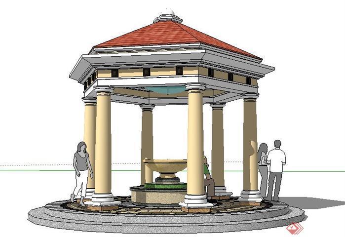 六角形欧式景观亭子SketchUp SU 3D模型图片