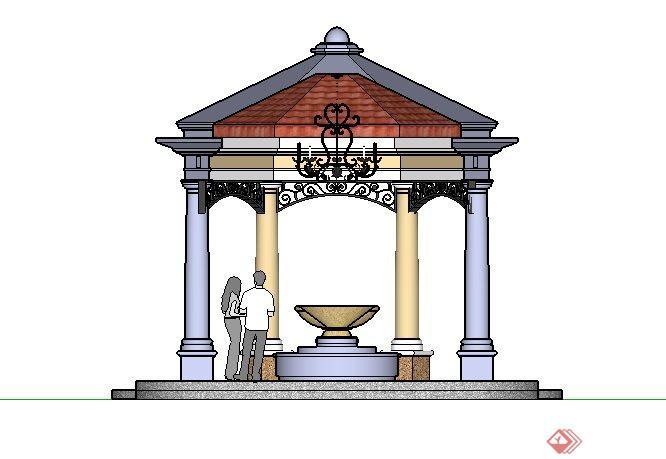 某居住区欧式景观亭子SketchUp SU 3D模型图片