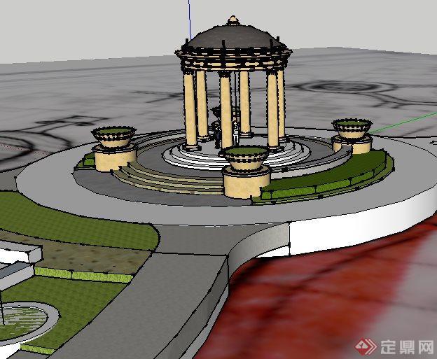 某欧式小区景观亭子设计SketchUp SU 3D模型图片