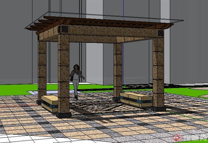 某小区现代风格玻璃顶亭子sketchup(su)3d模型,该设计方案造