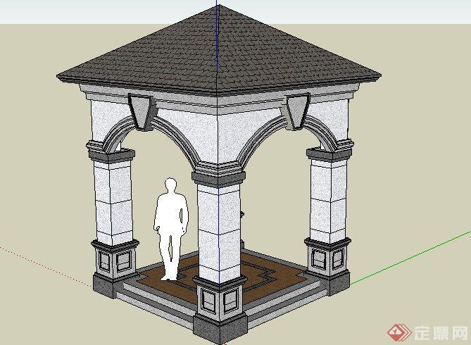 洁欧式四方景观亭子设计SketchUp SU 3D模型