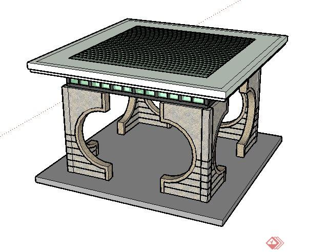 某现代中式风格景观亭子sketchup su 3d模型