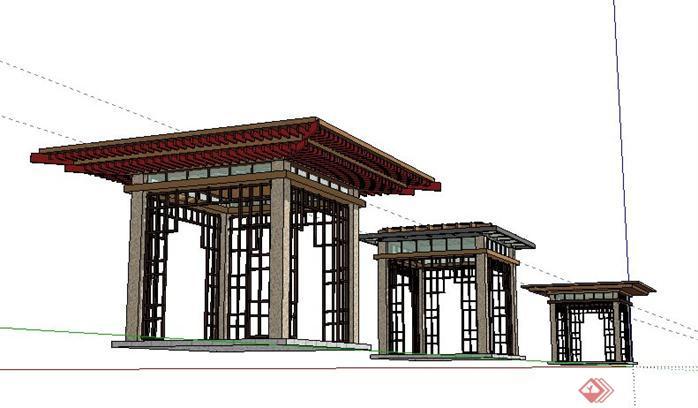 某公园现代中式景观亭子sketchup(su)3d模型