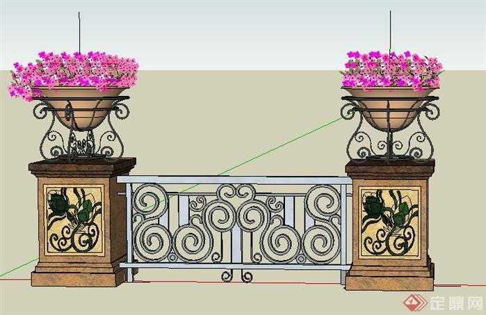 某欧式风格小围墙景观设计sketchup(su)3d模型