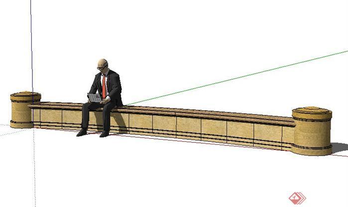 一款弧形欧式坐凳设计sketchup(su)3d模型