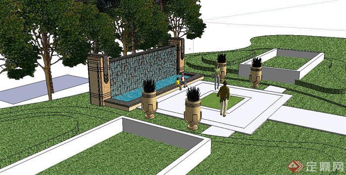 某小区欧式水景墙设计sketchup(su)3d模型