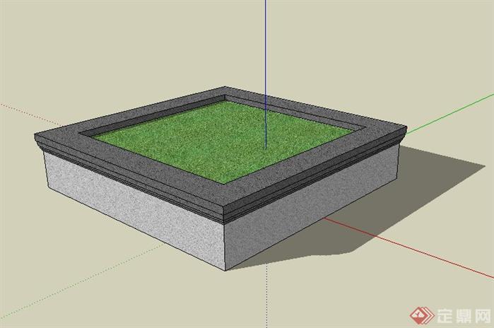 简约方形景观树池sketchup(su)3d模型
