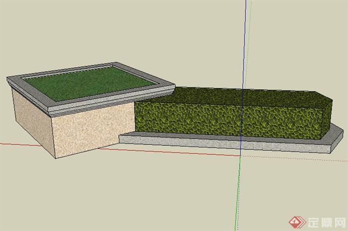 方形景观树池带花池sketchup(su)3d模型