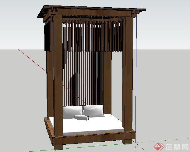 现代东南亚风格凉亭景观小品SketchUp SU 3D模型