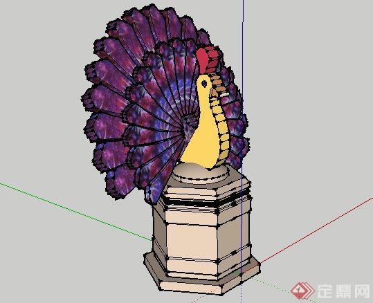东南亚风格孔雀雕塑景观小品SketchUp SU 3D模型