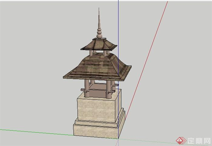 东南亚风格灯具基座景观小品SketchUp SU 3D模型