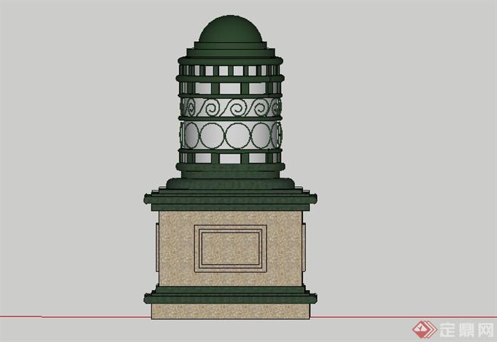 东南亚风格灯笼景观小品sketchup(su)3d模型,该景观设计方案