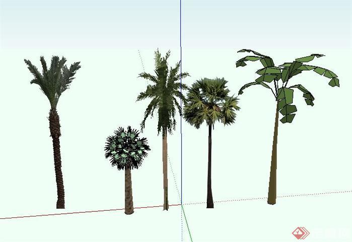 东南亚5种热带植物景观小品SketchUp SU 3D模型