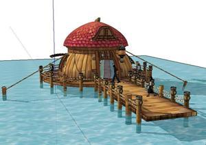 东南亚风格码头景观小品sketchup(su)3d模型