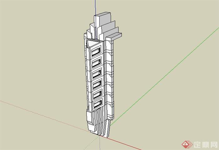 某广场景观柱设计sketchup(su)3d模型