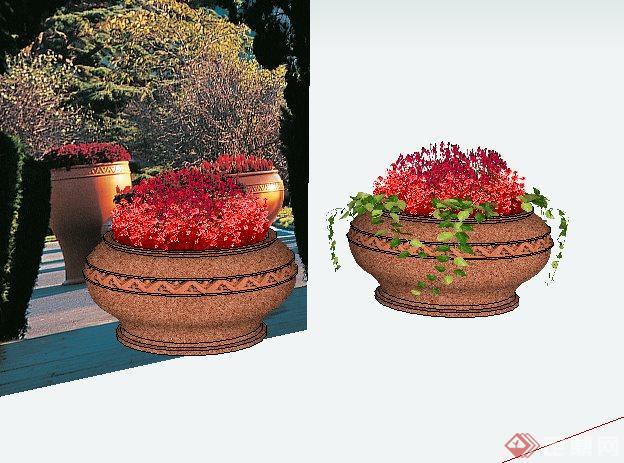 欧式陶罐形状花钵sketchup(su)3d模型
