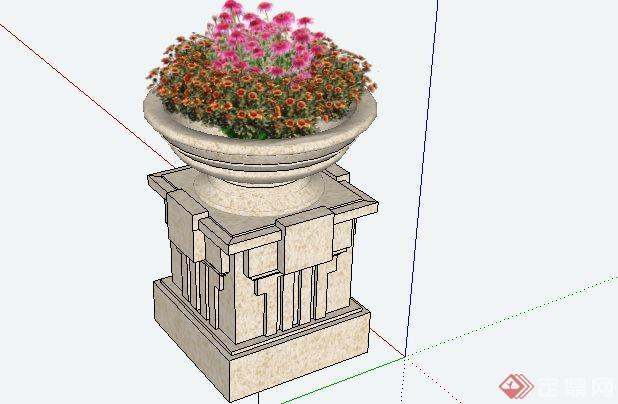 现代风格圆形花钵带基座sketchup(su)3d模型