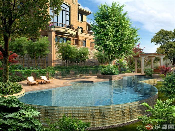 某别墅庭院游泳池园林景观设计效果图psd格式,该景观设计方