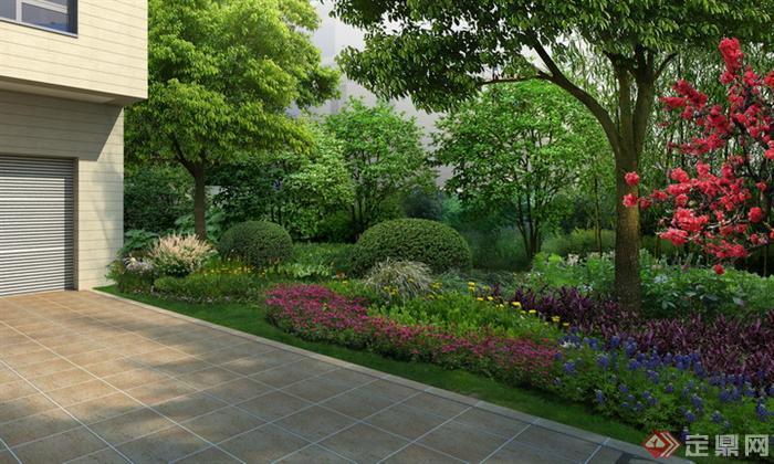 某别墅庭院停车区右侧绿化园林景观设计效果图psd格式,该景