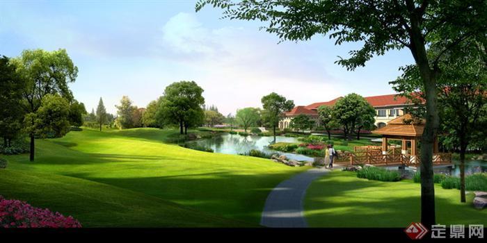 某会所阳光草坪园林景观设计效果图psd格式