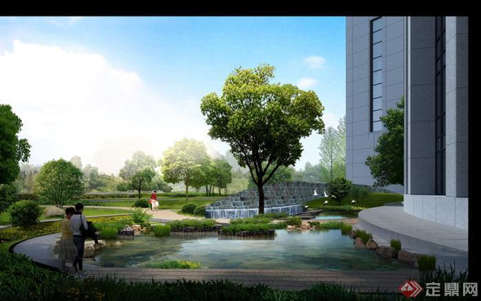 某办公楼前水景园林景观设计效果图psd格式