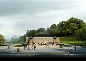 某公园入口广场园林景观设计效果图psd格式图片