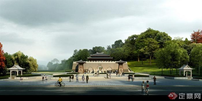 某公园入口广场园林景观设计效果图psd格式