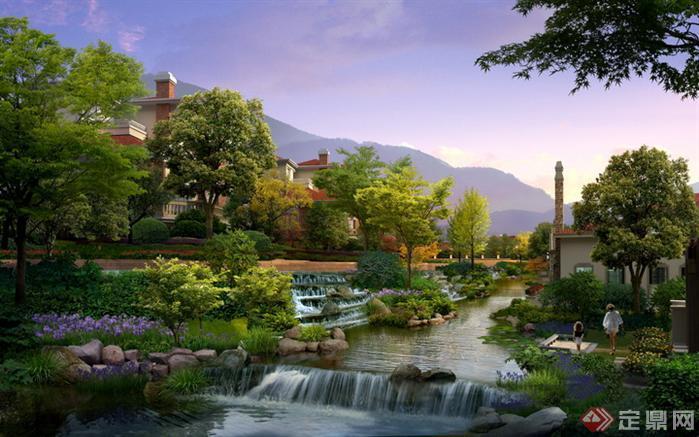 某别墅区河道园林景观设计效果图psd格式
