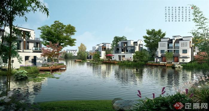 某中式别墅区水景园林景观设计效果图psd格式,该景观设计方