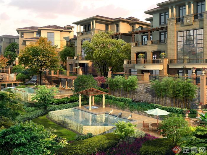 某别墅区公共空间园林景观设计效果图psd格式,该景观设计方