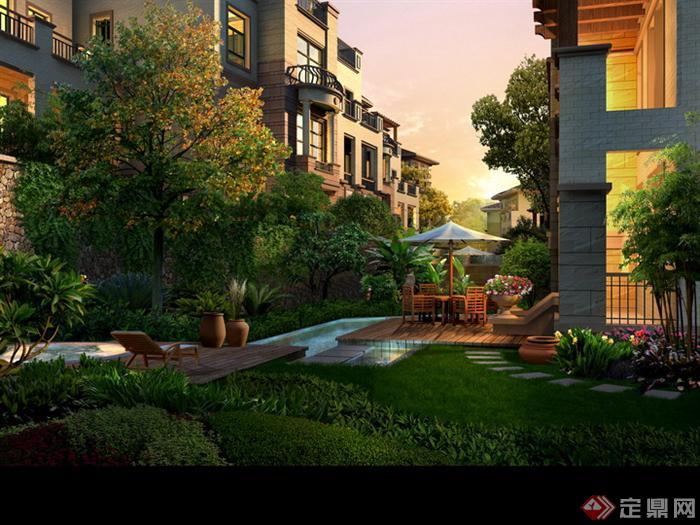 某别墅小庭院园林景观设计效果图psd格式,该景观设计方案造