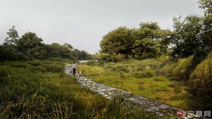 某公园道路园林景观设计效果图psd格式