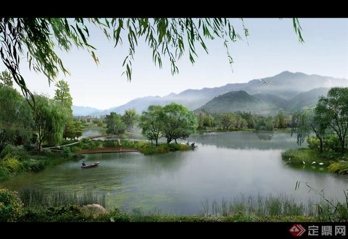 某河道湿地园林景观设计效果图psd格式