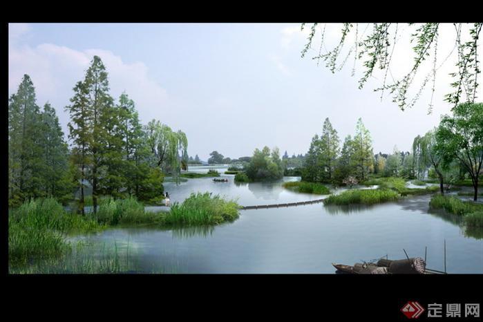 某湿地河道园林景观设计效果图psd格式,该景观设计方案造型