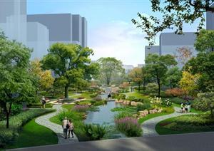 某科技园区格式园林景观v格式效果图psd河道宾馆院子设计图图片