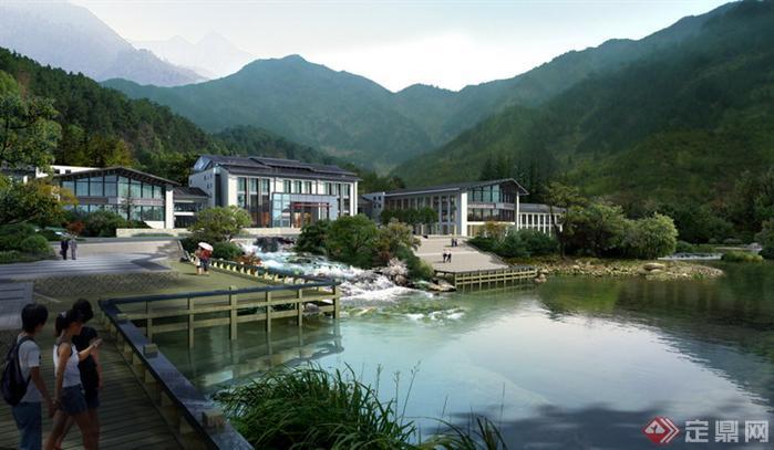 某酒店水景园林景观设计效果图psd格式