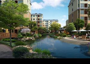 某小区河道水景园林景观设计效果图psd格式