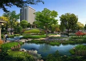 某公园滨水区园林景观设计效果图psd格式