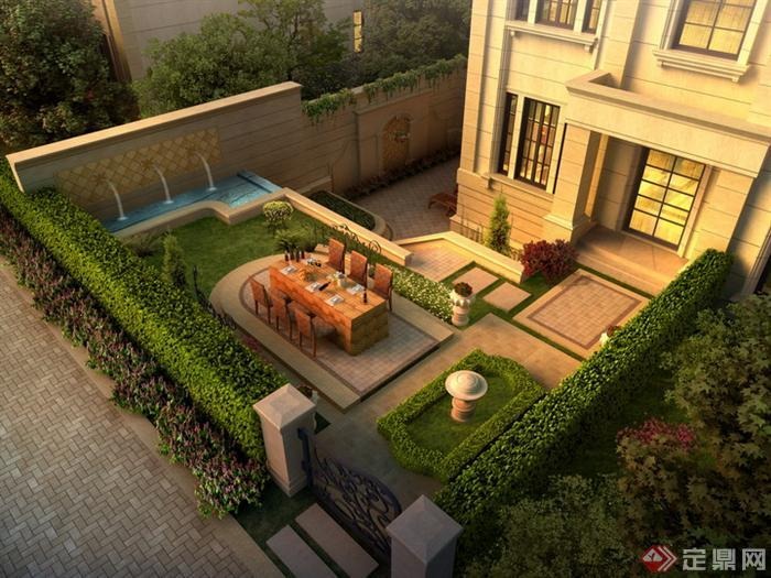 某欧式庭院园林景观设计鸟瞰效果图psd格式,该景观设计方案