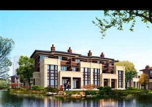 某滨水双拼别墅园林景观设计效果图psd格式