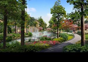 某小区河道水景及步道园林景观设计效果图psd格式