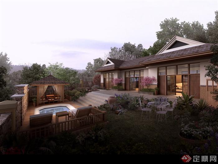 某东南亚风格庭院园林景观设计效果图psd格式,该景观设计方