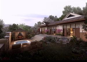 某东南亚风格庭院园林景观设计效果图psd格式
