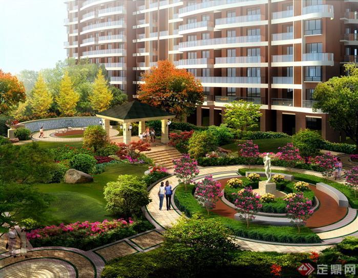 某小区中央花园园林景观设计效果图psd格式,该景观设计方案
